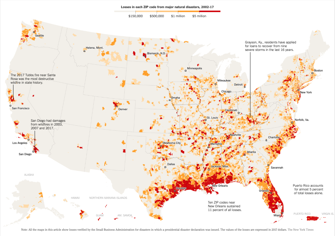 new york times, heat map, united states, natural disasters